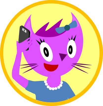 Cartoon Image of a Cat on a Phone